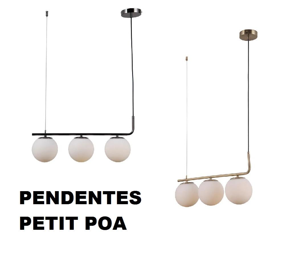 PENDENTE PETIT POA 3xE27 LEITOSO 60X15X27CM - SQ001 BELLA ILUMINAÇÃO