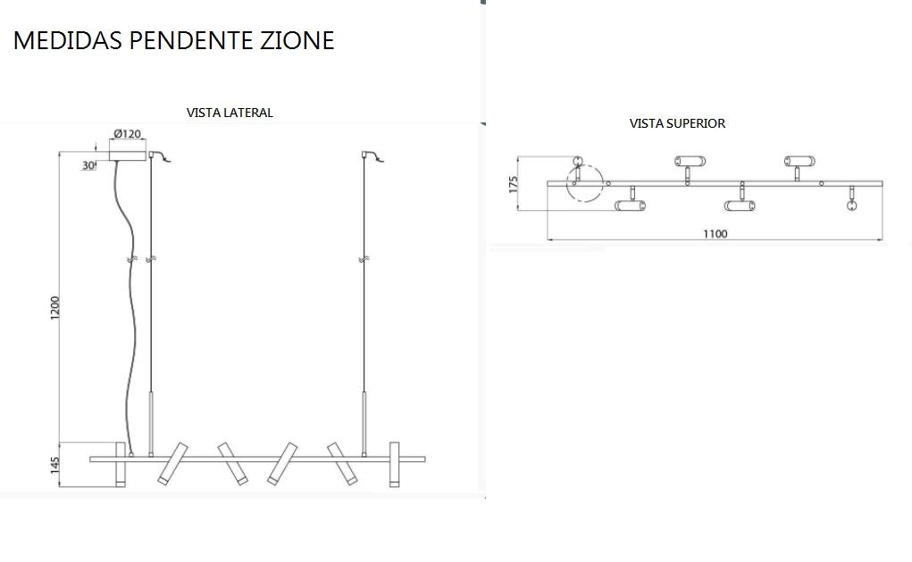 PENDENTE ZIONE LED 6x3W 3000K 1440LM BIVOLT - PD1491 CASUAL LIGHT