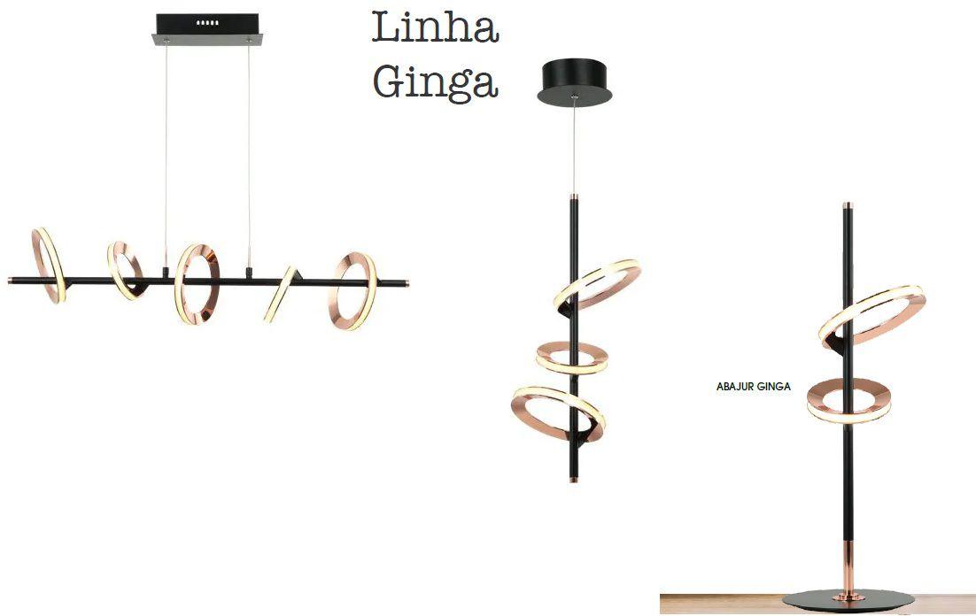 PENDENTE GINGA LED METAL COBRE/PRETO - BB011 E BB012 BELLA ILUMINAÇÃO