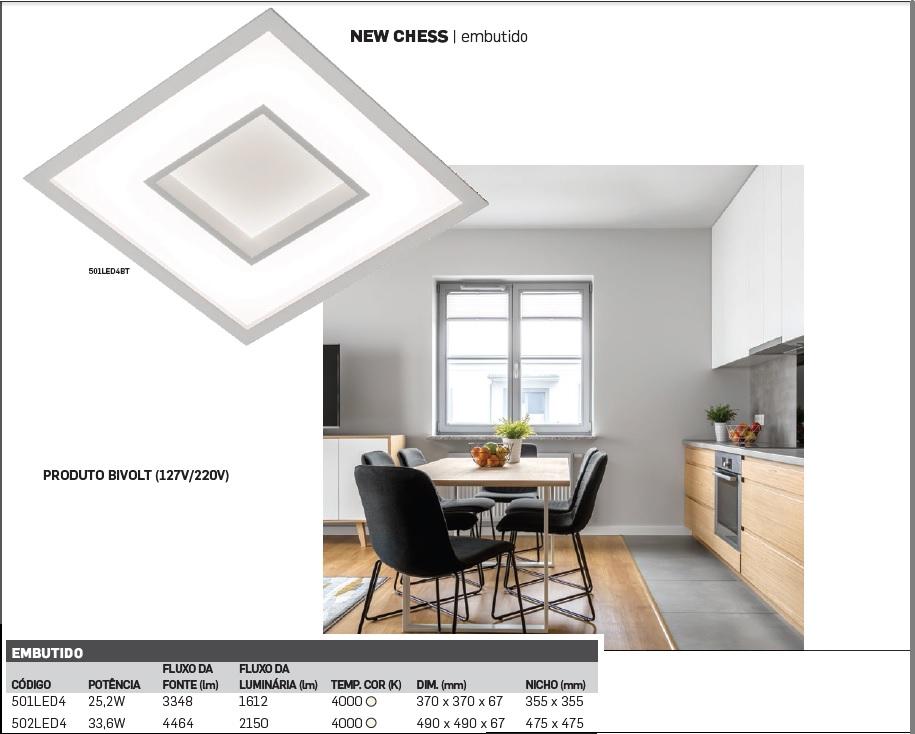 PLAFON NEW CHESS EMBUTIDO LED 4000K BIVOLT - 501/502LED4BT
