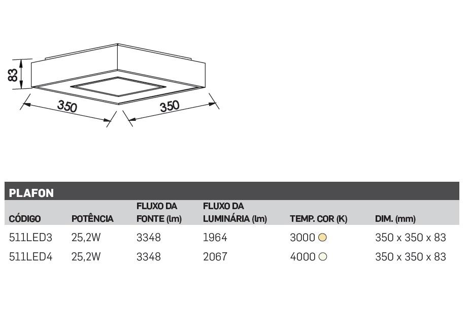 PLAFON NEW CHESS LED 30W 350X350X83MM BRANCO - 511LED NEW LINE
