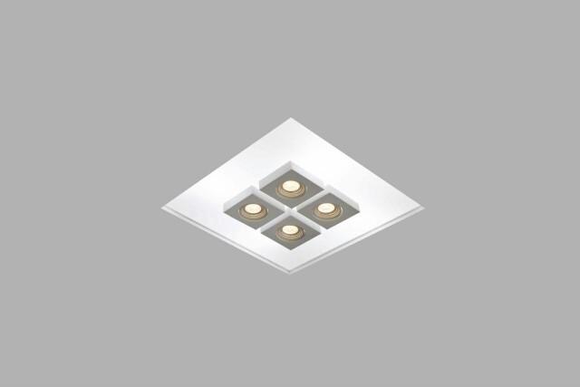 PLAFON NO FRAME BOX EMBUTIDO, ACRÍLICO  50CM + 4 FOCOS - 30400/50BT USINA DESIGN