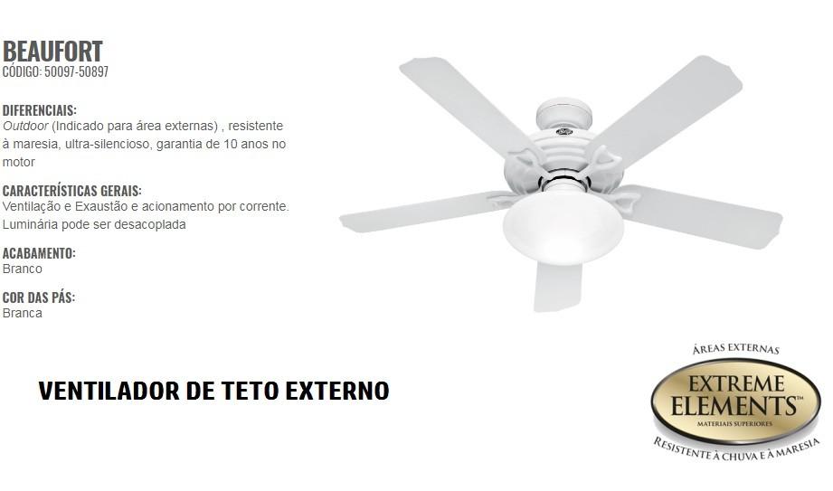 VENTILADOR DE TETO BEAUFORT 5 PÁS EXTERNO - 50097-50897 HUNTER