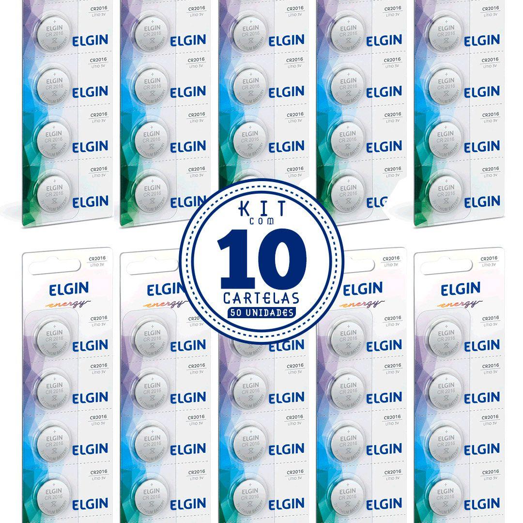10 Cartela Com 5 Bateria Moeda Cr2016 3v Pilha Lithium Elgin