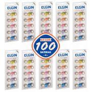 KIT com 100 Baterias Alcalinas LR44 AG13 LR1154 Elgin Pilha Alcalina Blister