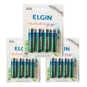 12 Pilha Alcalina Aa Elgin Energy Lr6 1,5v  Blister Com 4