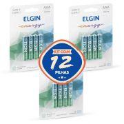 12 Pilhas Alcalinas AAA Elgin Energy Lr3 1,5v (4x3)