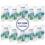 KIT 10 Baterias 9v Alcalina Elgin Original (Pacote Econômico)