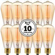 KIT 10 LAMPADA FILAMENTO DE CARBONO ST64 40W 127V 2000K