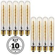 KIT 10 LAMPADA FILAMENTO DE CARBONO T30 40W 127V 2000K