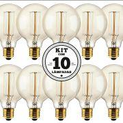 KIT 10 LAMPADAS FILAMENTO DE CARBONO 40W 127V 2000K