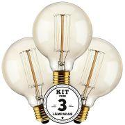 KIT 3 LAMPADAS FILAMENTO DE CARBONO 40W 127V 2000K