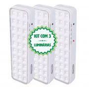 Kit 3 Luminárias Luz De Emergência 30 Leds Premium Segurimax