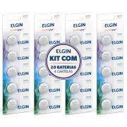 Kit 4 Cartelas com total de 20 Baterias Moeda CR2032 3V Pilha Lithium Elgin