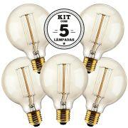 KIT 5 LAMPADAS FILAMENTO DE CARBONO 40W 127V 2000K