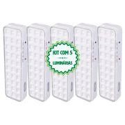 Kit 5 Luminárias Luz De Emergência 30 Leds Premium Segurimax