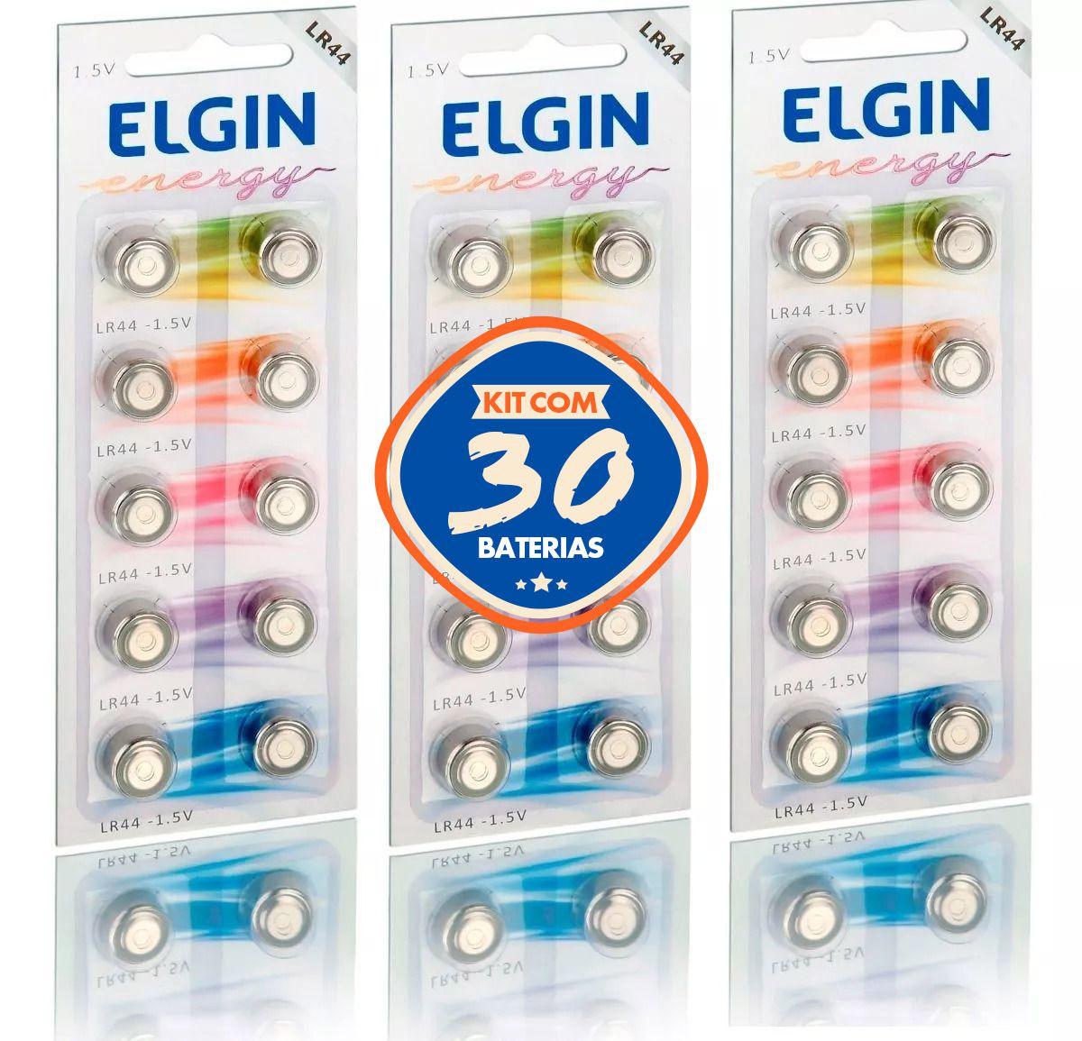 KIT com 30 Baterias Alcalinas Elgin LR44 1.5v AG13 LR1154 357