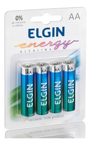 80 Pilha Alcalina A A Elgin Energy Lr6 1,5v  Blister Com 4