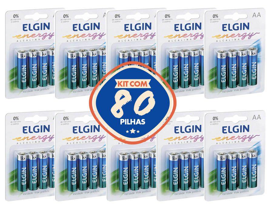 80 Pilha Alcalina AA Elgin Energy Lr6 1,5v Blister Com 4