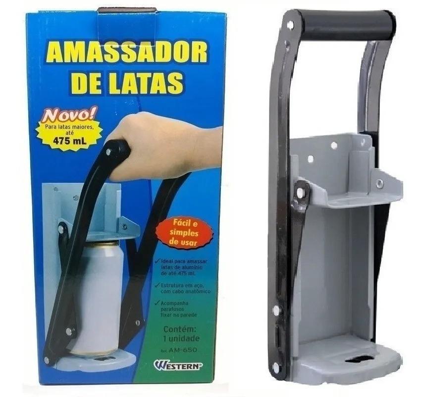 Amassador De Latinha Latao Até 475ml Com Abridor
