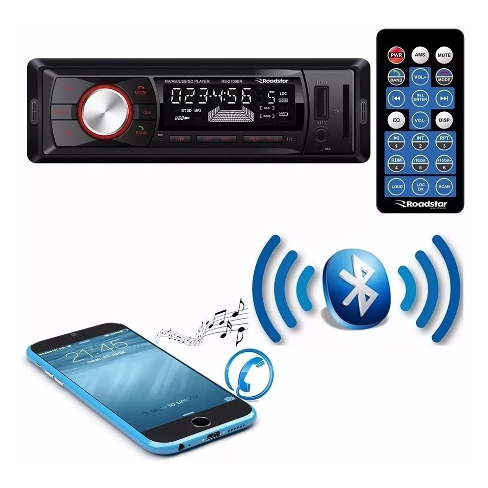 Auto Radio Roadstar Bluetooth Rs-2709 Fm Usb Sd Controle Top