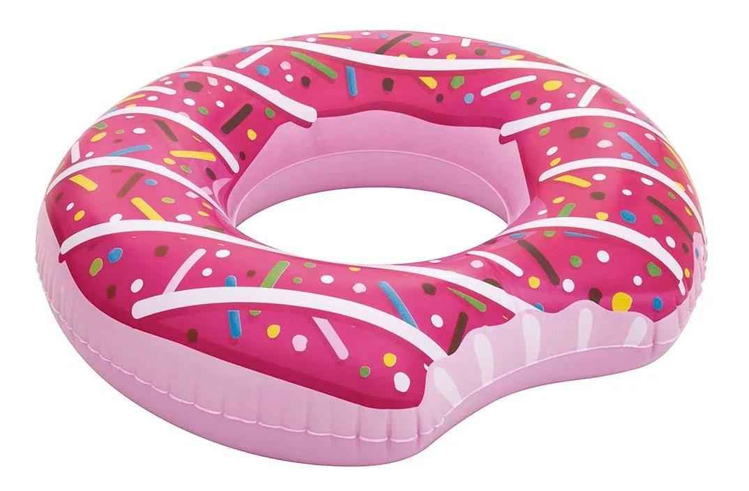Boia Inflável Donut 107cm De Diâmetro Bestway Marrom/ Rosa