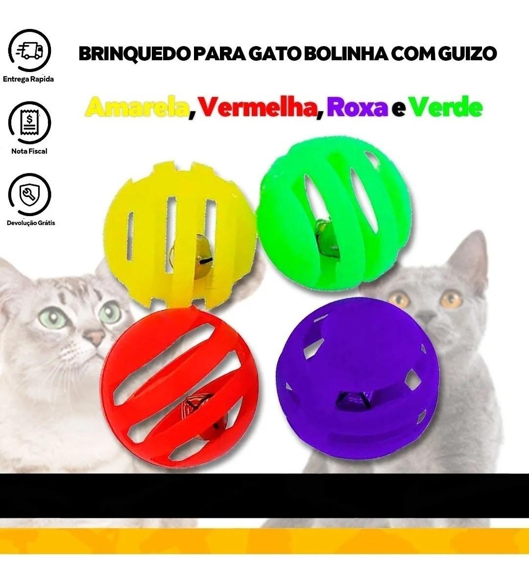 Brinquedo Bola Com Guizo 4 Unidades P/ Gato Interativos Pet