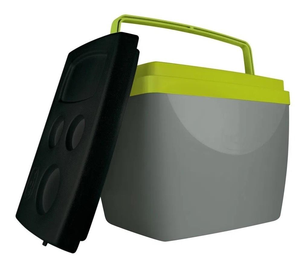 Caixa Térmica Cinza Verde 34L Até 50 Latinhas Cooler Mor