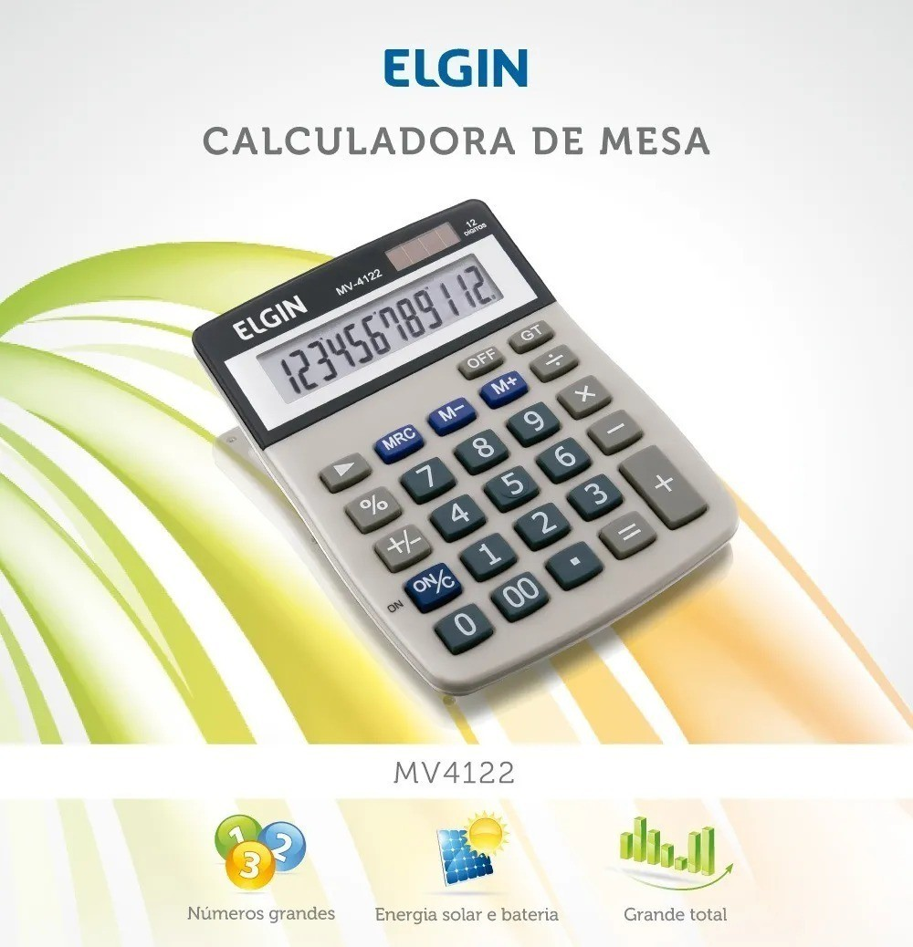 Calculadora de Mesa Comercial Escritório 12 Digitos Mv4122