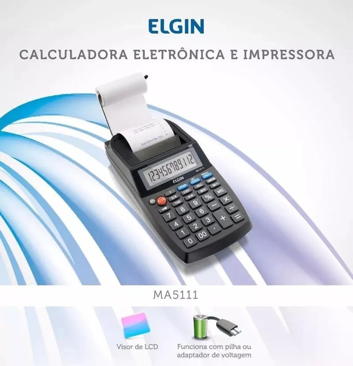 Calculadora Mesa Com Visor E Impressora 12 Dígitos Ma5111