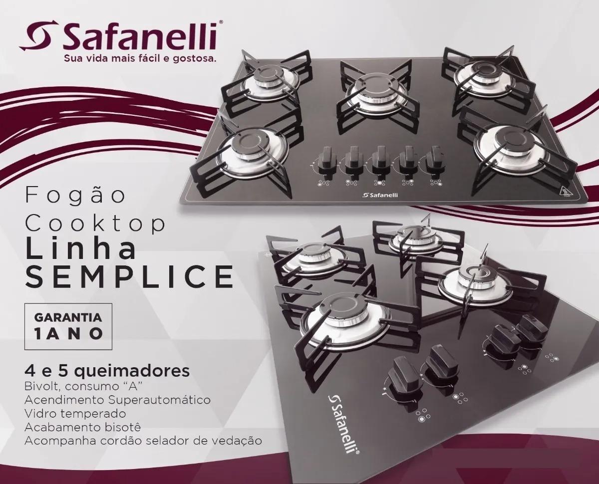 Fogão Cooktop Preto 4 Bocas Semplice Safanelli