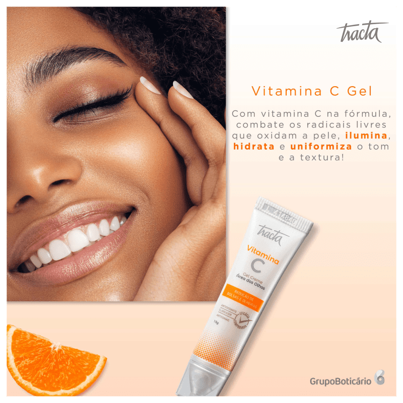 Gel Creme Vitamina C Área Olhos Bolsas E Olheiras 15g Tracta
