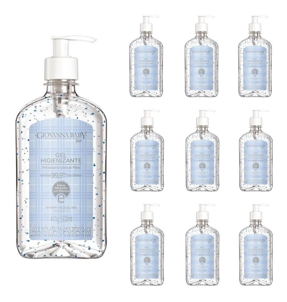 Kit 10 Álcool Gel 70% Giovanna Baby Azul 500ml