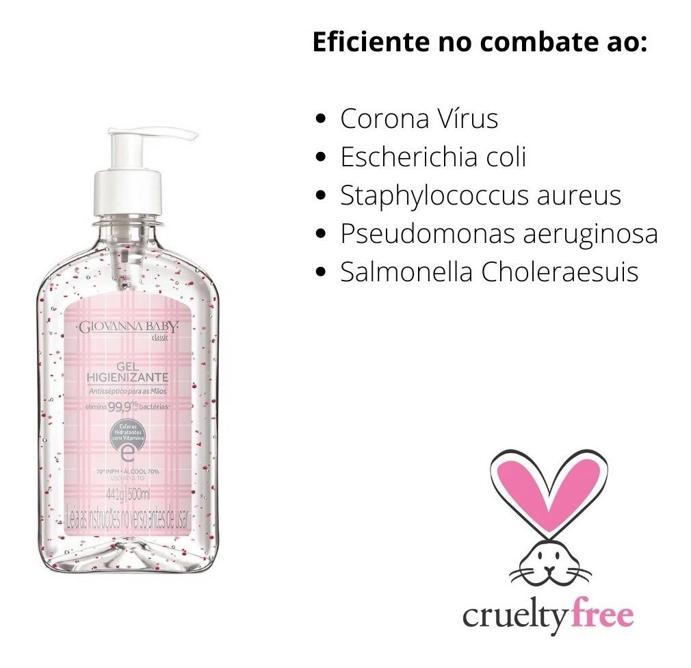 Kit 10 Álcool Gel 70% Giovanna Baby Rosa 500ml
