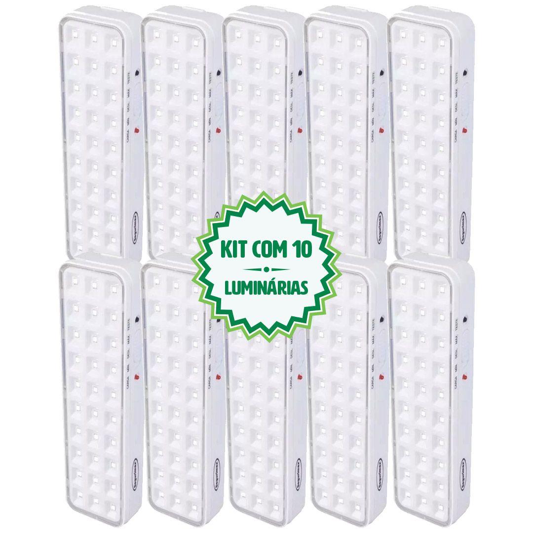 Kit 10 Luminárias Luz De Emergência 30 Leds Premium Segurimax