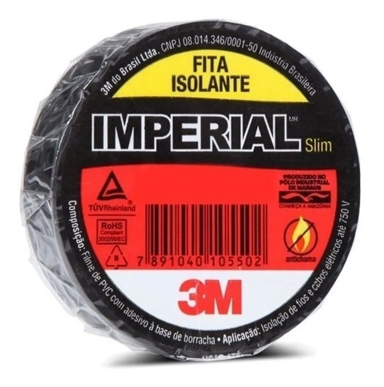 Kit 10 Rolos Fita Isolante 5m - Imperial 3m