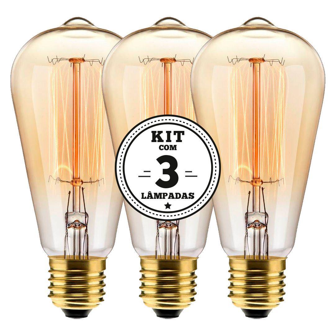 KIT 3 LAMPADAS FILAMENTO DE CARBONO ST64 40W 127V 2000K