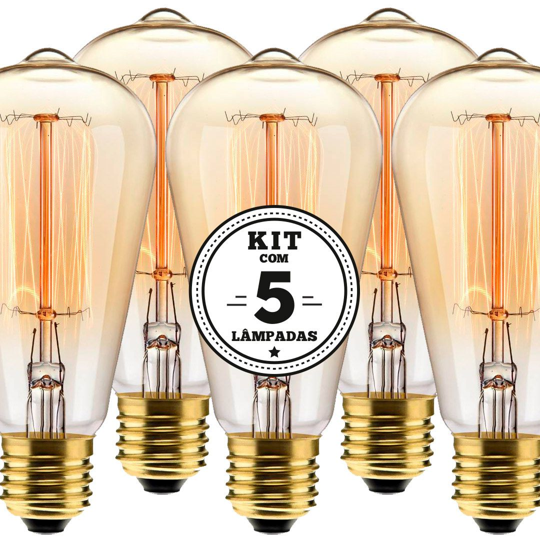 KIT 5 LAMPADA FILAMENTO DE CARBONO ST64 40W 127V 2000K
