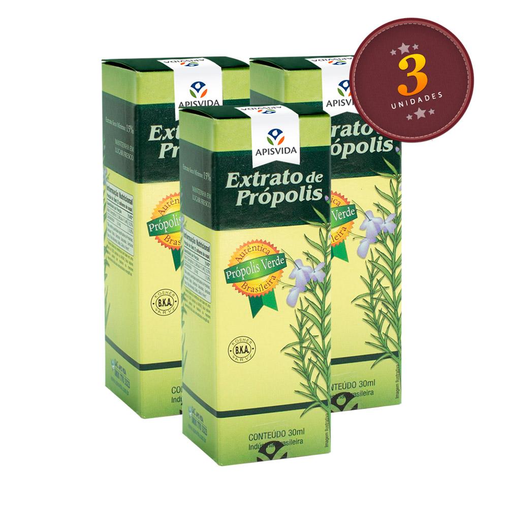KIT com 3 Extrato De Própolis Verde 30ml - ApisVida