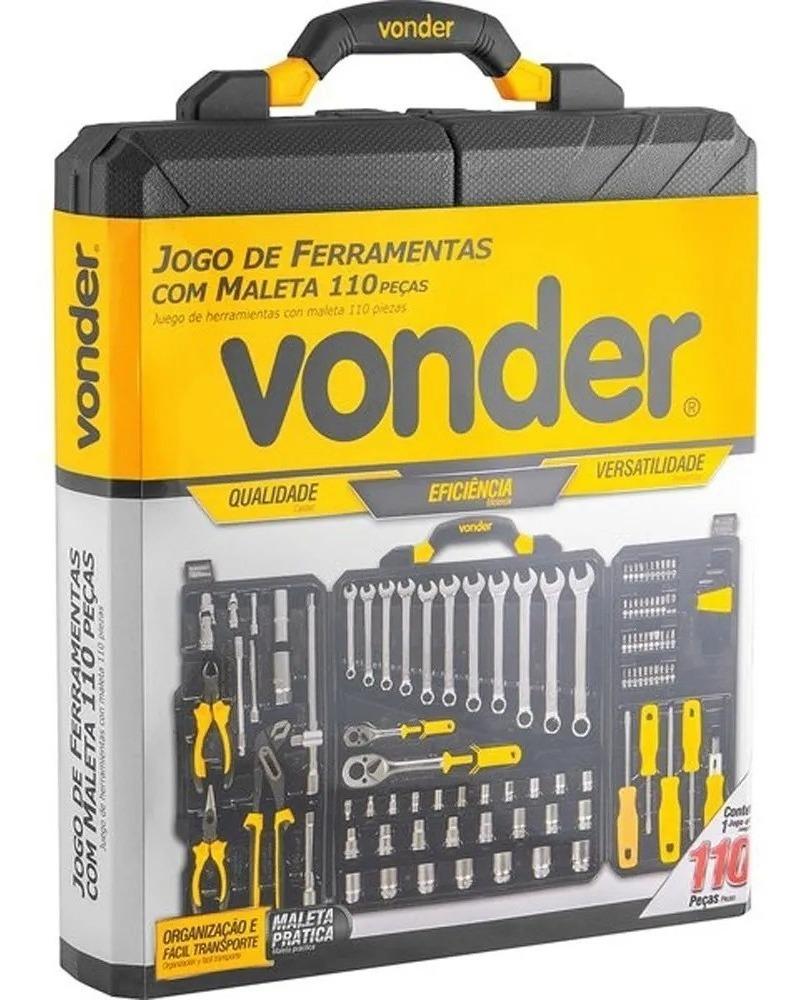 Kit Jogo De Ferramentas 110 Peças Cromo Vanadium Vonder