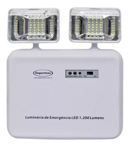 Luminária Emergência Segurimax Led 1200 Lumens 2 Farol