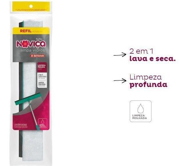 Mop Noviça Refil Limpa Vidros 2 Em 1 Bettanin Bt192r