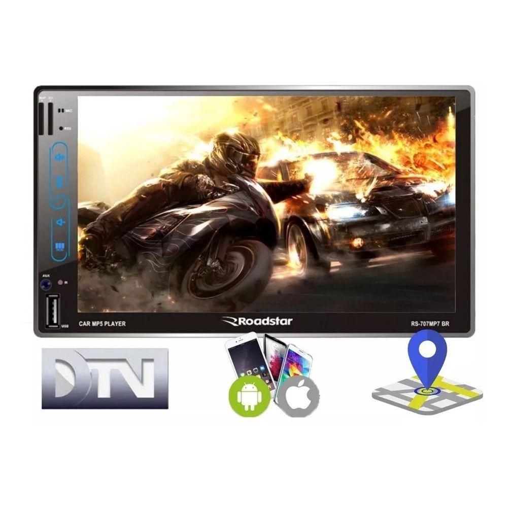 Multimídia Rs707br Fm Som Mp7 Roadstar Esp Android Ios Bt Tv