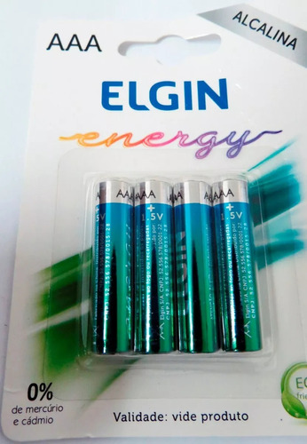 Pilha Alcalina Aaa Elgin Energy Lr3 1,5v Pacote C/ 4
