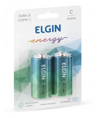 Pilha C (média) Lr14 Elgin Alcalina Blister C/ 2 Unidades