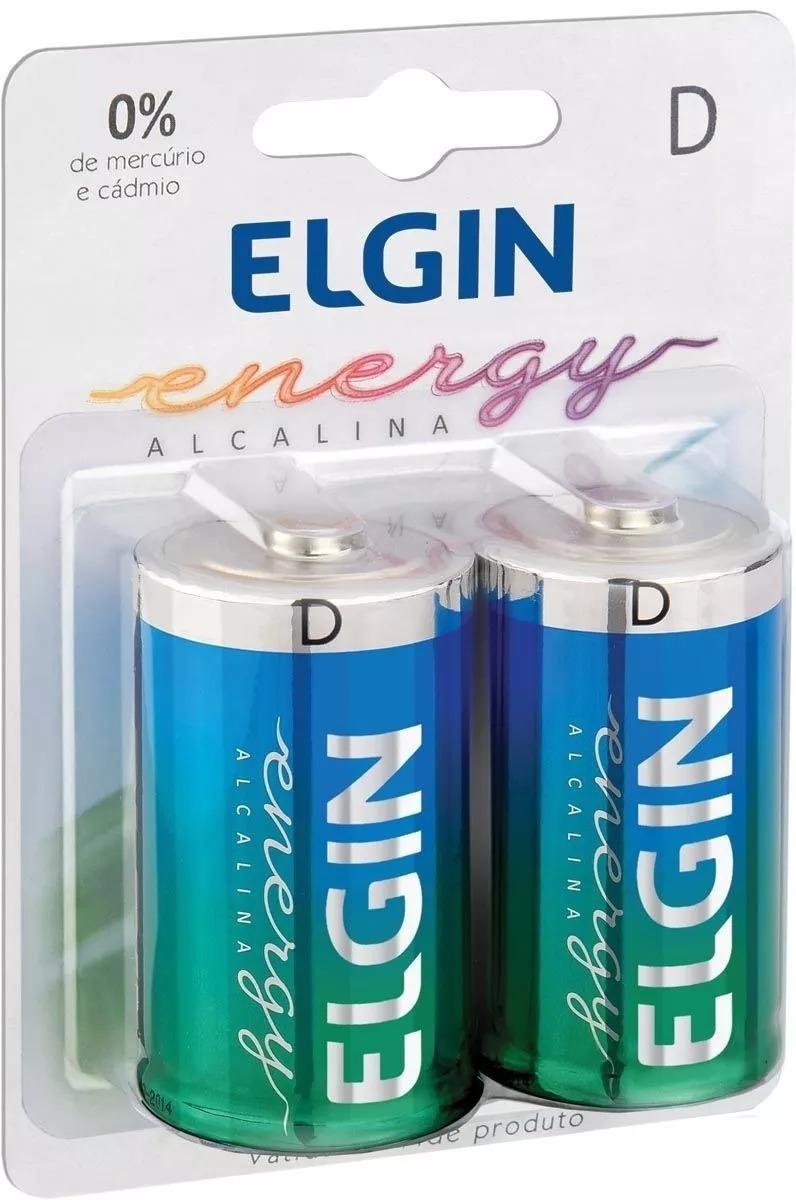 Pilha D (grande) Lr20 Elgin Alcalina Blister C/ 2 Unidades
