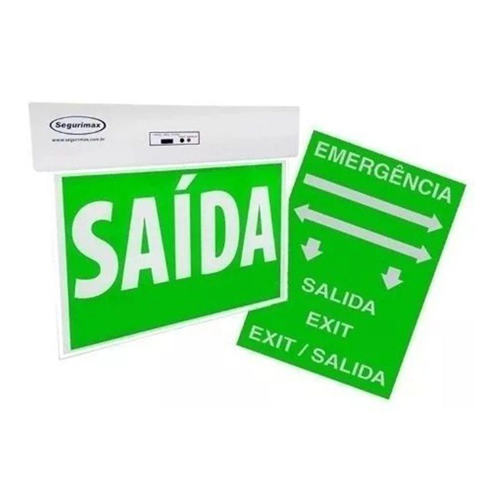 Placa e Sinalização Saída Emergência Led Verde Acrílica