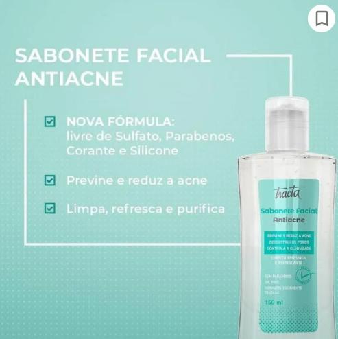 Sabonete Facial Antiacne Oil Free Tracta 150ml Vegano