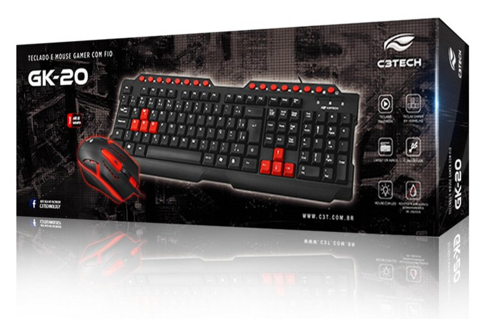 Teclado E Mouse Gamer Com Led Com Fio Usb Abnt2 C3tech Gk-20