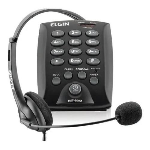 Telefone Headset Preto Base Discagem Fixo Hst6000 Elgin
